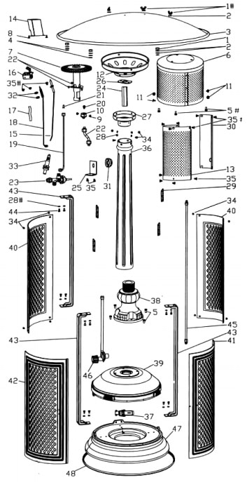 Patio heater parts diagram exploded to see each individual part