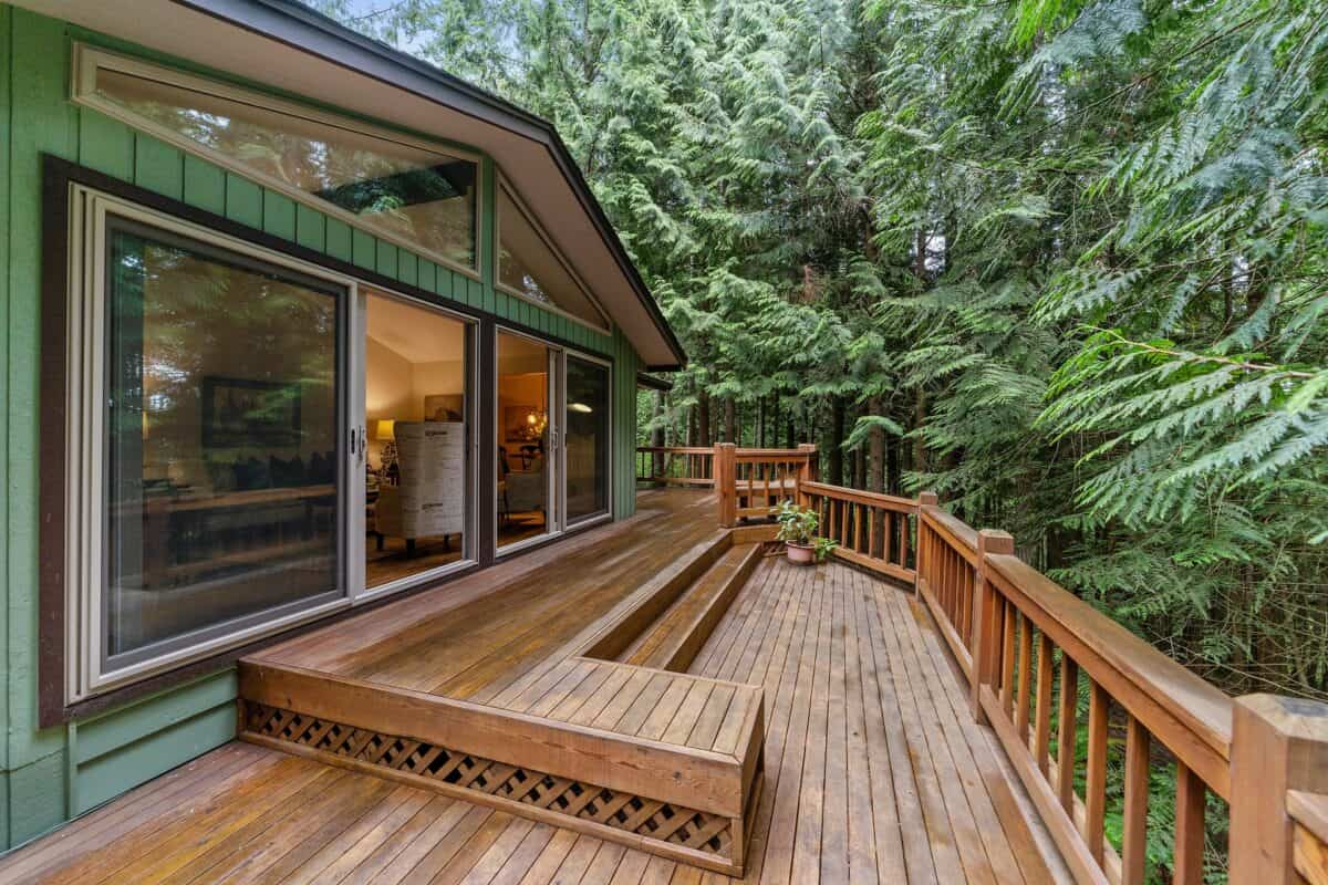Beautiful deck surrounded by forest trees