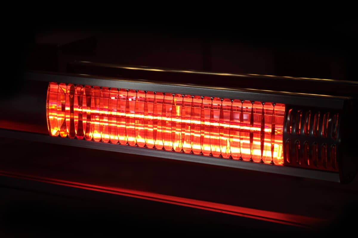 electric infrared heater on a black background