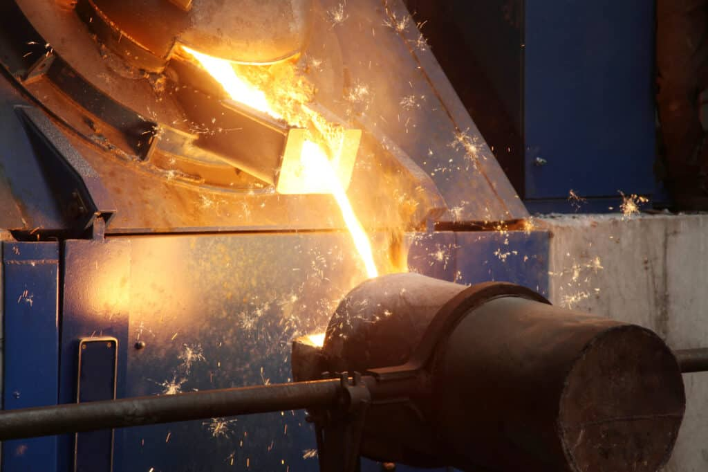 close up of metal being made with high temperature