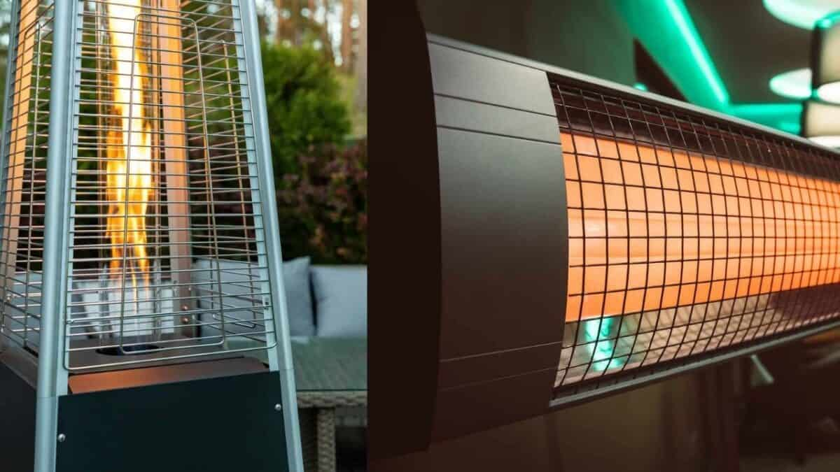 gas patio heater on patio next to wall mounted electric heater for comparison
