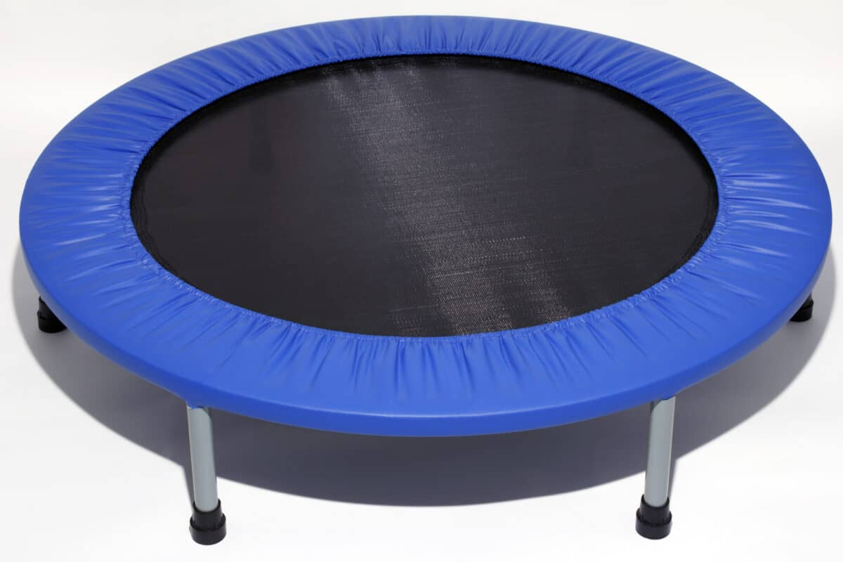 Low impact trampoline exercise equipment to reduce injury you can bounce on used to increase lymph flow, tone muscles, and more.