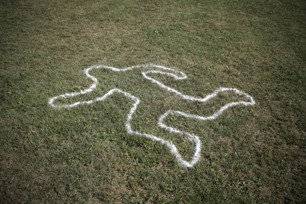 Picture of dead grass and a chalk outline of body on the dead grass