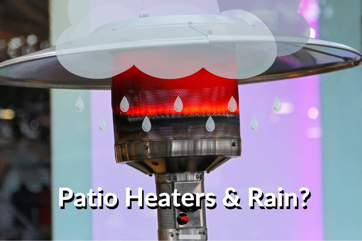 """Close up of outdoor patio heater with a cartoon rain cloud over top and text stating: """"Patio Heaters & Rain?"""""""